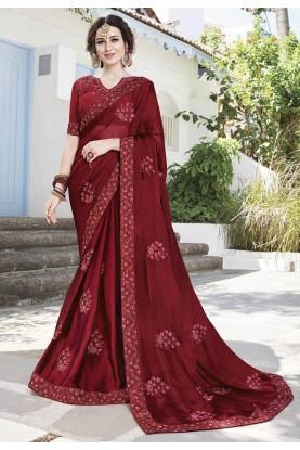 Maroon Color Indian Wedding Saree.