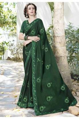 Green Color Indian Designer Saree.