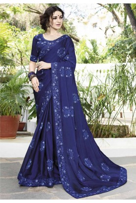 Royal Blue Color Party Wear Saree.