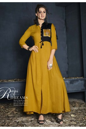 Yellow Color Cotton Kurti.