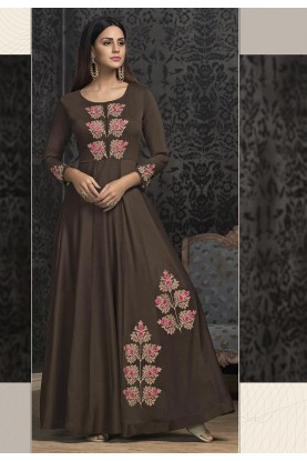 Brown Color Designer Indowestern Gown.