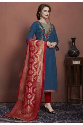 Blue Colour Cotton Party Wear Kurti.