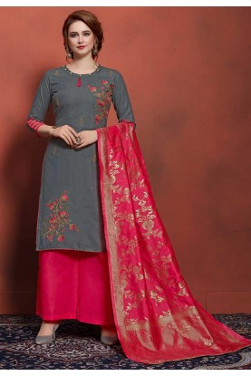 Grey Colour Cotton Designer Salwar Suit.