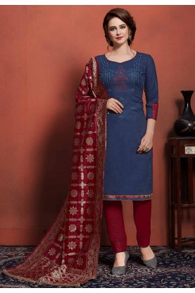 Blue Colour Cotton Salwar Kameez.