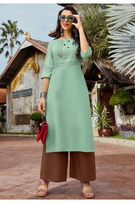 Green Colour Cotton Readymade Kurti.
