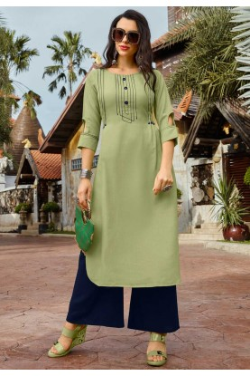 Readymade Designer Kurti in Green Colour.
