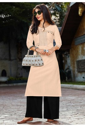 Peach Colour Cotton Kurti.