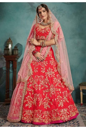 Art Silk Wedding Lehenga Choli in Red Colour.