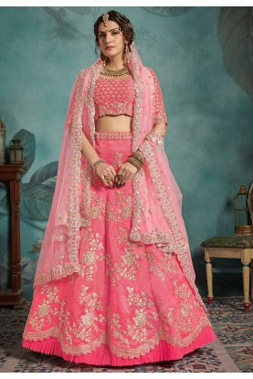 Pink Colour Engagement Lehenga Choli.