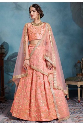 Peach Colour Art Silk Lehenga Choli.