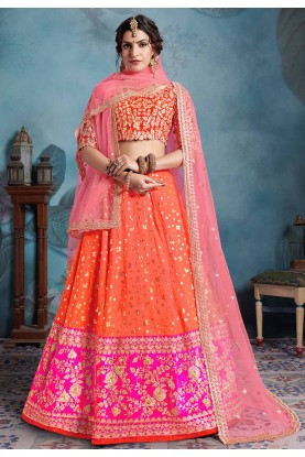 Orange Colour Embroidery Lehenga Choli.
