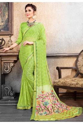 Green Colour Chiffon Saree.