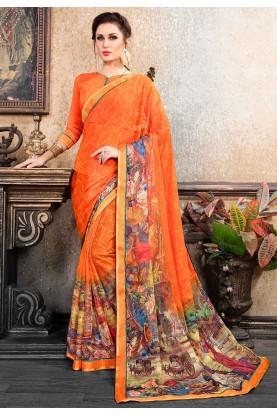 Orange Colour Casual Sari.