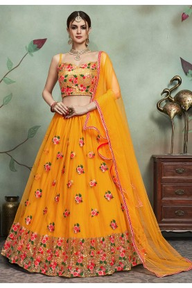 Indian Wedding Lehenga Choli in Yellow Colour.