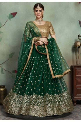 Engagement Lehenga Choli in Green Colour.