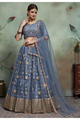 Designer Lehenga Choli in Grey Colour.
