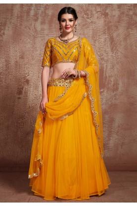 Indian Wedding Lehenga Choli in Yellow Colour.