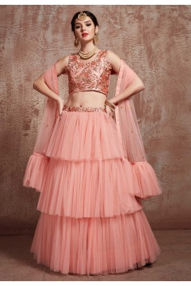 Peach Colour Net Lehenga Choli.