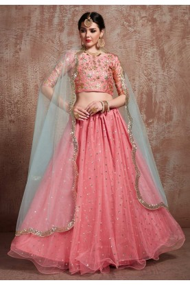 Pink Colour Party Wear Lehenga Choli.
