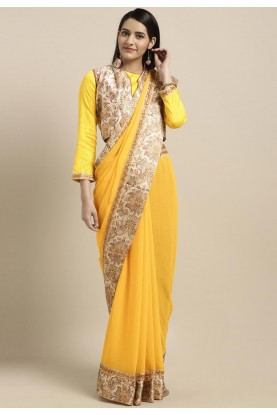 Yellow Colour Printed Chiffon Saree.