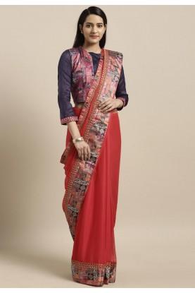 Red Colour Printed Saree.