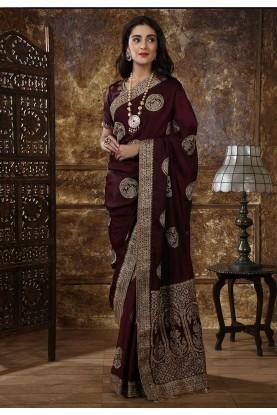 Maroon Colour Indian Designer Saree.