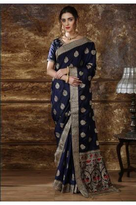 Blue Colour Art Silk Party Wear Sari.
