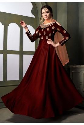Maroon Colour Designer Salwar Kameez.