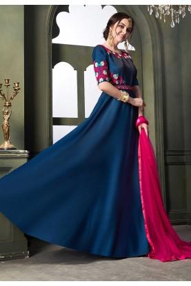 Blue Colour Anarkali Salwar Suit.