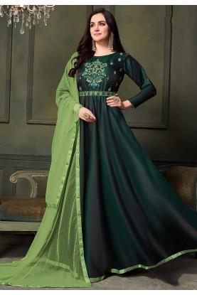 Indian Designer Salwar Suit in Green Colour.