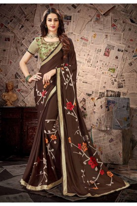 Party Wear Saree In Brown Colour.