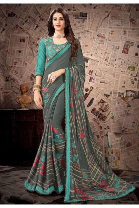Grey Colour Printed Sari.