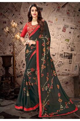 Green Colour Georgette Saree.