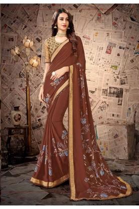 Brown Colour Satin,Georgette Fabric Regular Wear Saree.