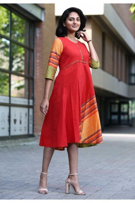 Red Colour Cotton Kurti.