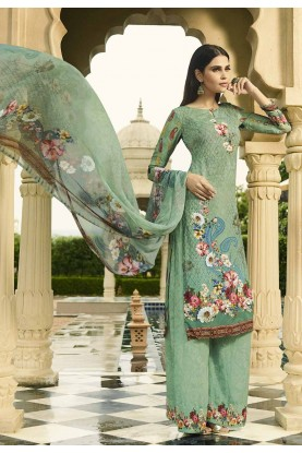 Palazzo Salwar Suit in Green Colour.
