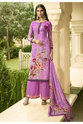 Purple Colour Printed Palazzo Suit.