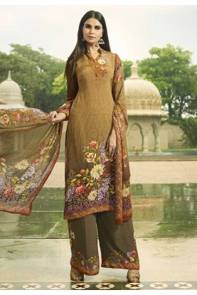 Brown Colour Designer Salwar Suit.
