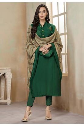 Green Colour Cotton Salwar Suit.