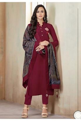 Maroon Designer Salwar Kameez.