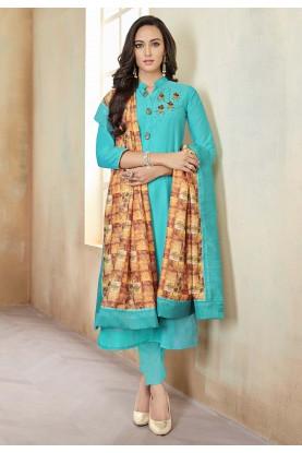 Turquoise Colour Cotton Salwar Suit.