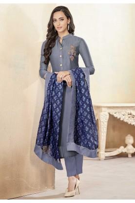 Grey Colour Casual Salwar Suit.
