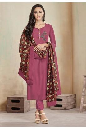 Printed Salwar Suit Pink Colour.