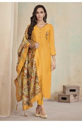 Designer Salwar Suit Yellow Colour.