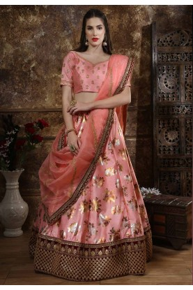 Peach Colour Designer Lehenga Choli.