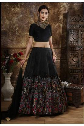 Party Wear Lehenga Choli in Black Colour.