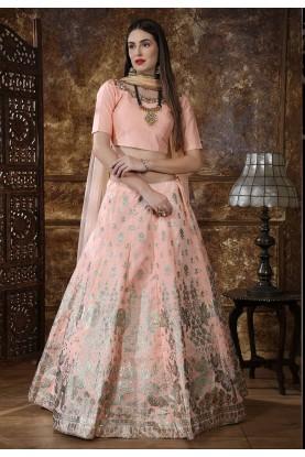 Peach Colour Indian Designer Lehenga.
