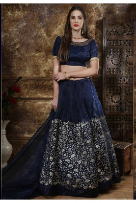 Blue Colour Art Silk Lehenga Choli.