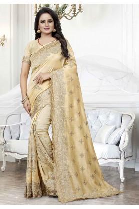 Cream Colour Wedding Saree.