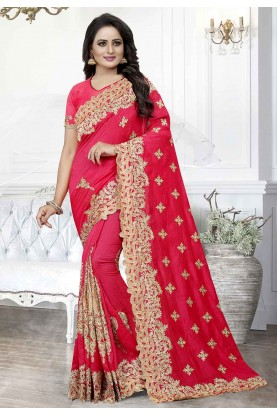 Pink Colour Designer Silk Saree.